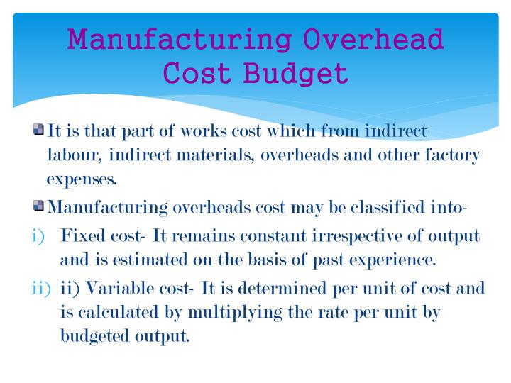 Manufacturing Overhead Cost Budget