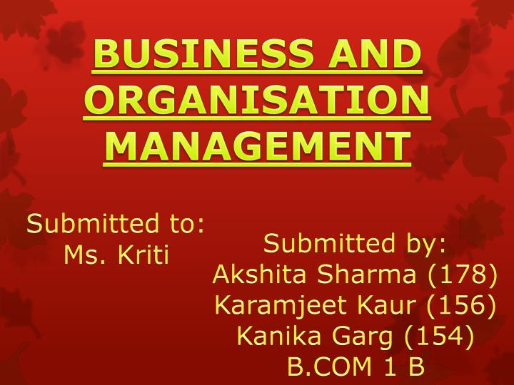 BUSINESS AND ORGANISATION