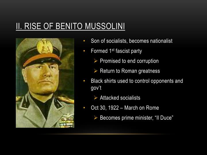 a history of benito mussolinis totalitarianism in italy Benito amilcare andrea mussolini was born on 29 july 1883 in predappio in northern central italy his father was a blacksmith employment prospects in the area were poor so in 1902 mussolini moved.