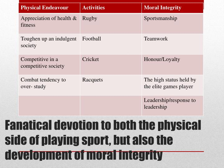 Fanatical devotion to both the physical side of playing sport, but also the development of moral integrity