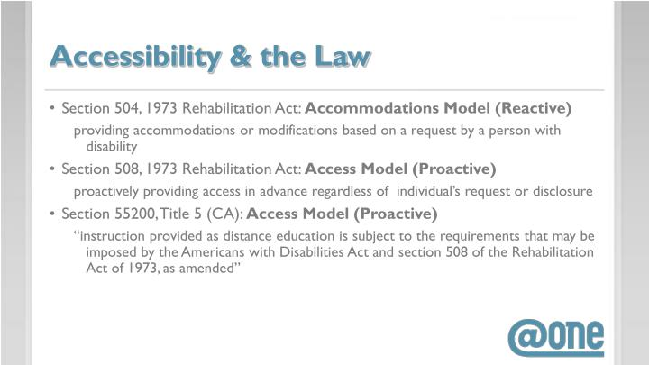 Accessibility & the Law