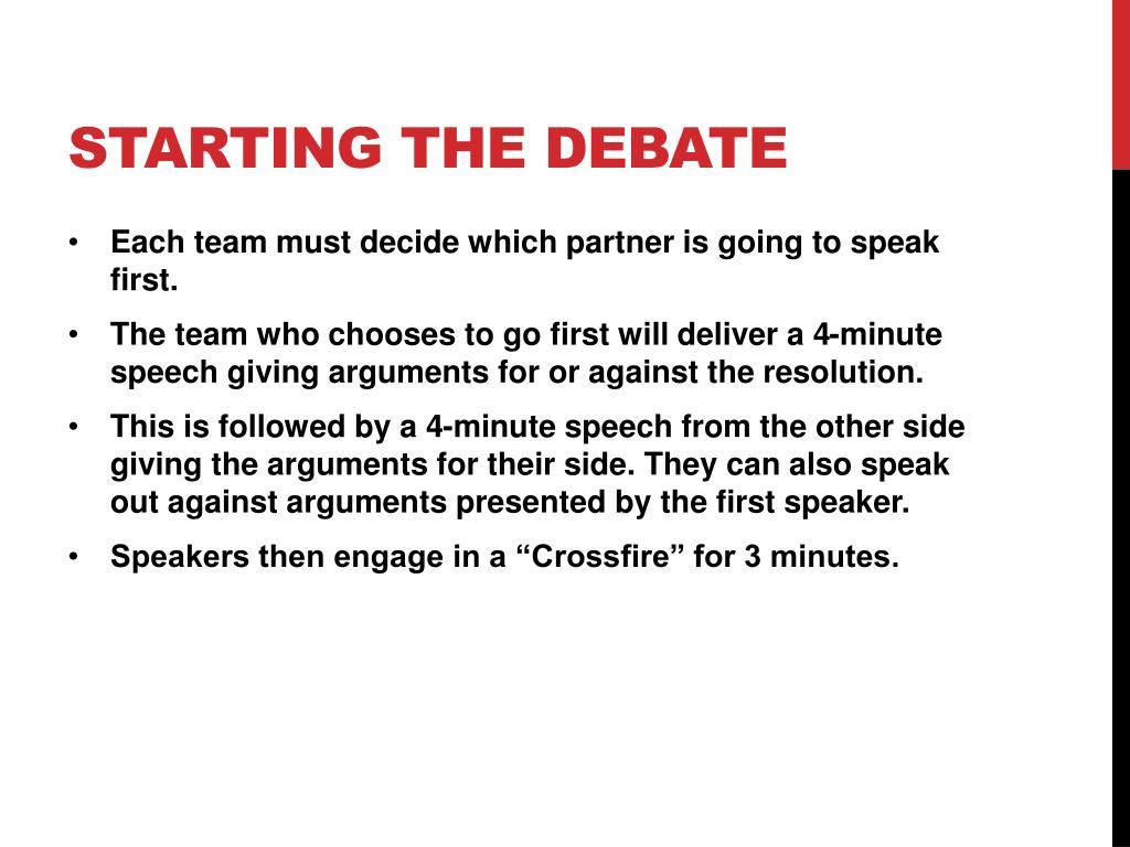 how to start a speech in a debate