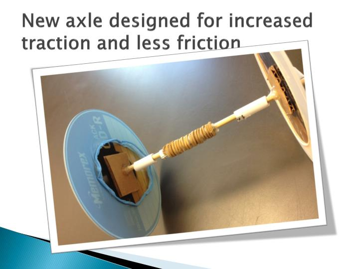 New axle designed for increased traction and less friction