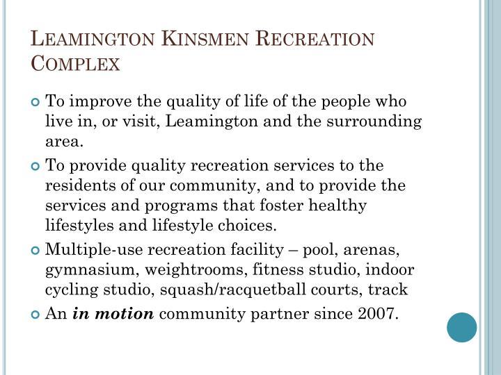 Leamington kinsmen recreation complex