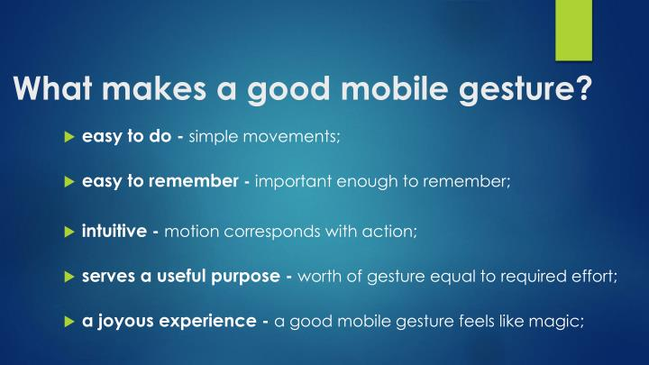 what makes a good mobile gesture n.