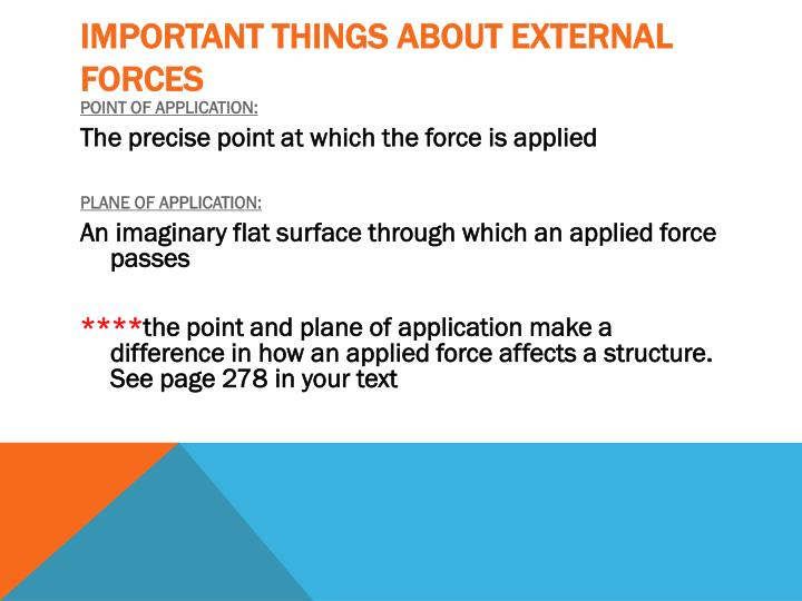 Important things about external forces