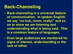 back channeling