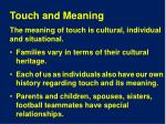 touch and meaning