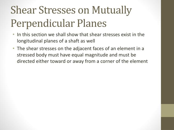 Shear Stresses on Mutually Perpendicular Planes