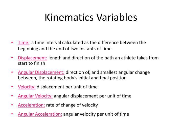 Kinematics Variables