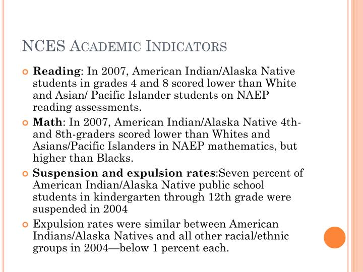 NCES Academic Indicators