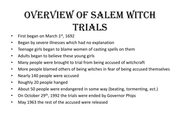 an analysis of the salem witch trials in literature The notorious witch trials of salem, massachusetts occurred from june through september it is a brief, but turbulent period in history and the causes of the salem witchcraft trials still leaves this country with so many questions as to what happened in that small town with all the documentation.