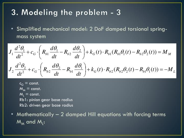 3. Modeling the problem