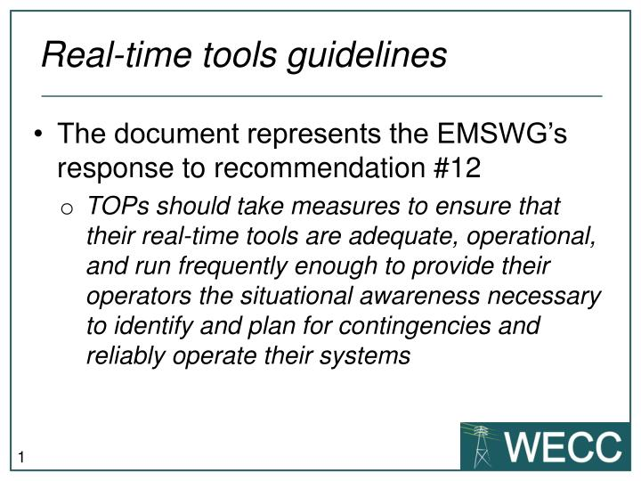 Real time tools guidelines