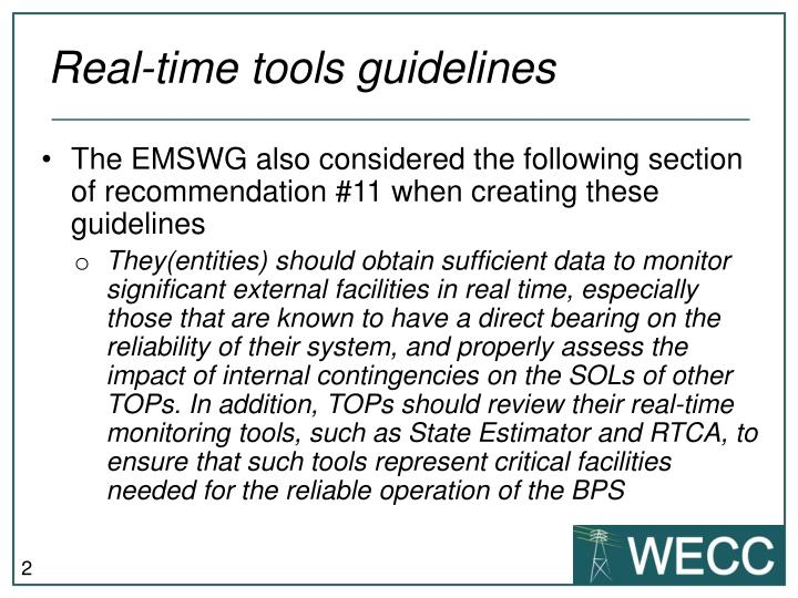 Real time tools guidelines1