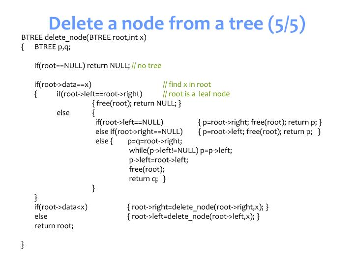 Delete a node from a tree (5/5)