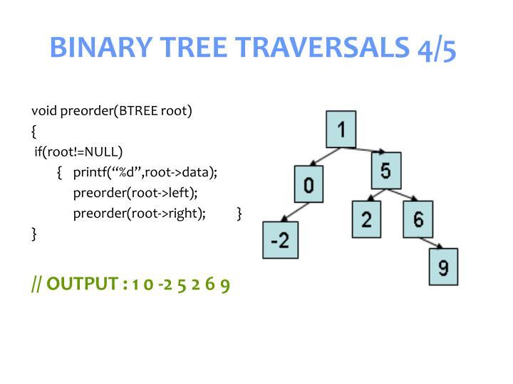 BINARY TREE TRAVERSALS 4/5