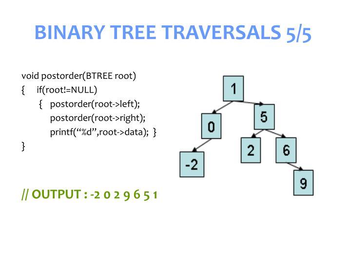 BINARY TREE TRAVERSALS 5/5