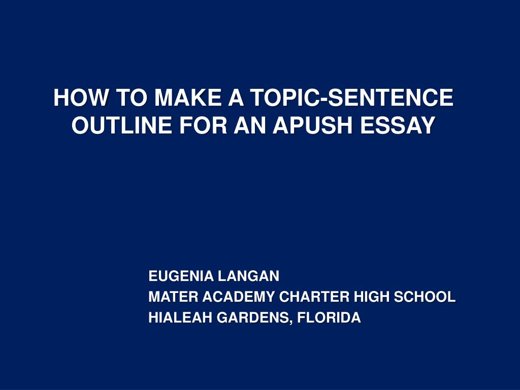 how to come up with a topic sentence