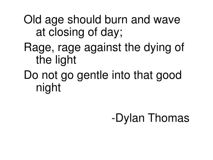 Old age should burn and wave at closing of day;
