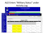 alo enters military status under activity log