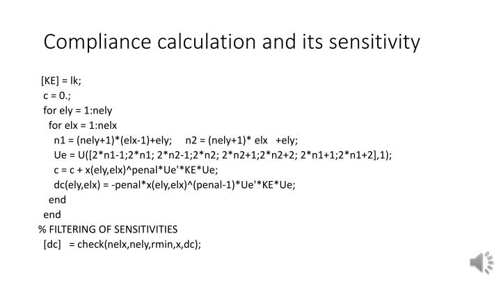 Compliance calculation and its sensitivity