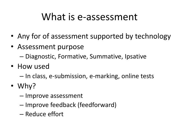 What is e-assessment