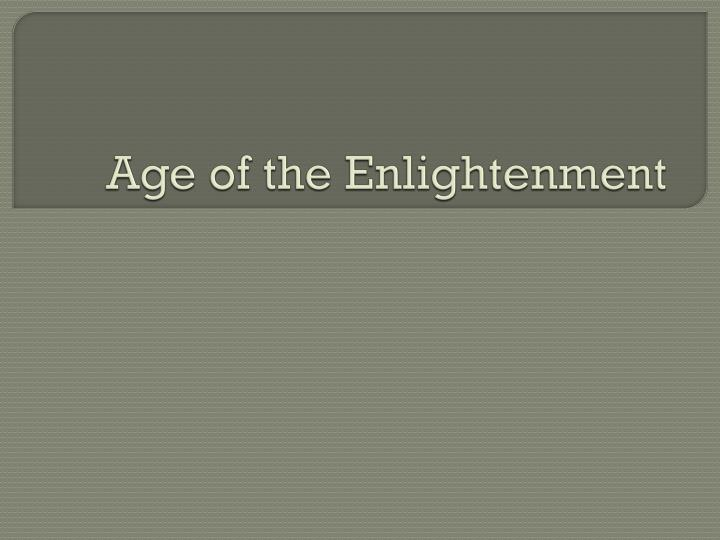age of the enlightenment n.