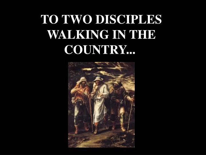 TO TWO DISCIPLES WALKING IN THE COUNTRY...