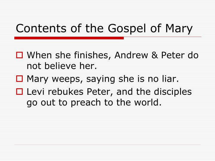 Contents of the Gospel of Mary