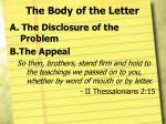 the body of the letter1