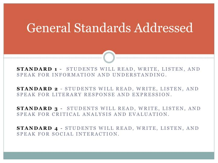 General Standards Addressed