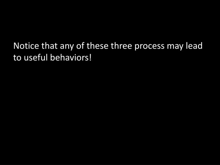 Notice that any of these three process may lead to useful behaviors!