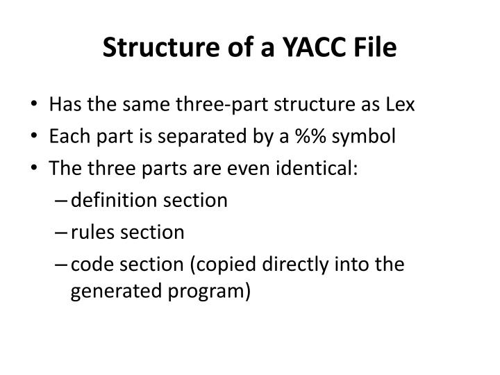 structure of a yacc file n.