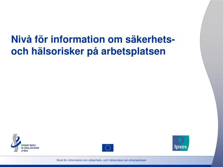 Nivå för information om säkerhets- och hälsorisker