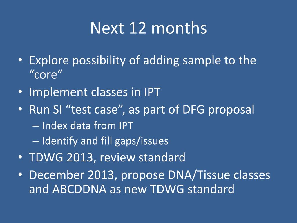 PPT - GGBN Working Group for DNA/Tissue Classes TDWG 2012 Conference