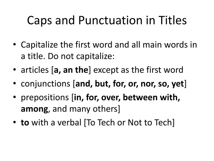 Caps and Punctuation in Titles