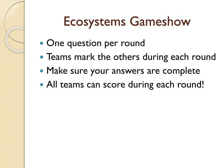ecosystems gameshow n.