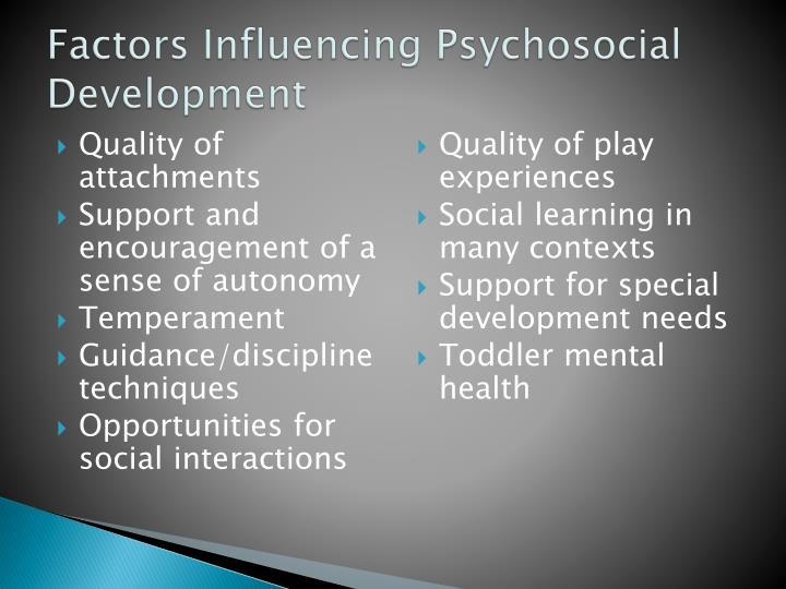 factors that influence human development Cultural factors that influence human development in your own words, what role does socioeconomic status, cultural context, and ethnicity play in development (show examples of each) in our day and time, socioeconomic status, cultural context, and ethnicity play a huge role in human developmenthuman development begins while in the womb and at.