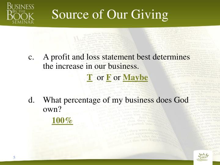 Source of Our Giving