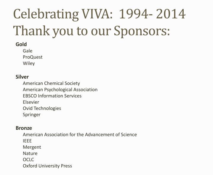 Celebrating VIVA:  1994- 2014
