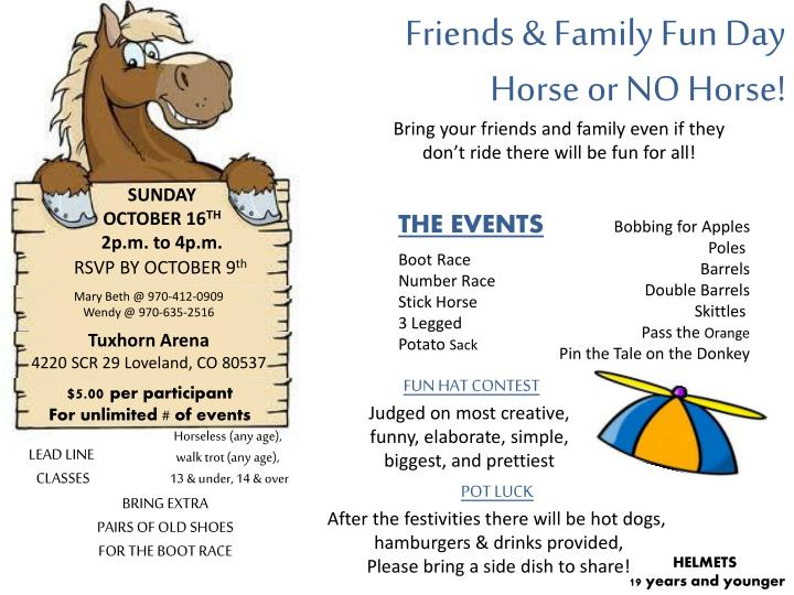 friends family fun day horse or no horse n.