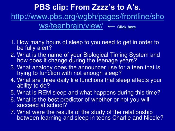 PBS clip: From Zzzz's to A's.
