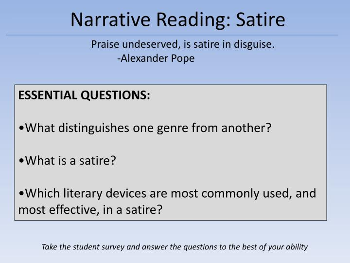 Ppt Narrative Reading Satire Powerpoint Presentation Free