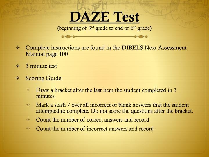 DAZE Test