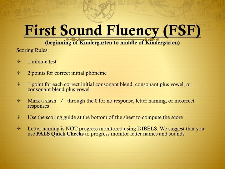 First sound fluency fsf beginning of kindergarten to middle of kindergarten