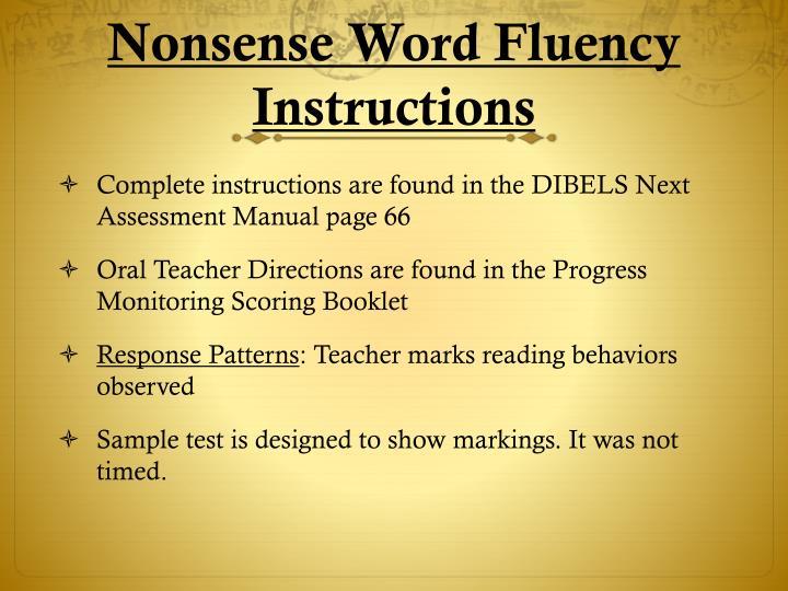 Nonsense Word Fluency Instructions