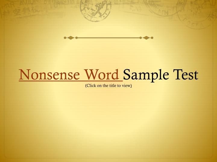 Nonsense Word