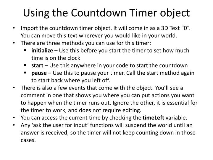 PPT - Using the Countdown Timer object PowerPoint