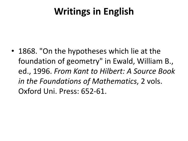 Writings in English